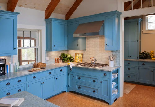 Dapur Modern Dan Elegan Dengan Nuansa Warna Biru Dekorasi Ruangan