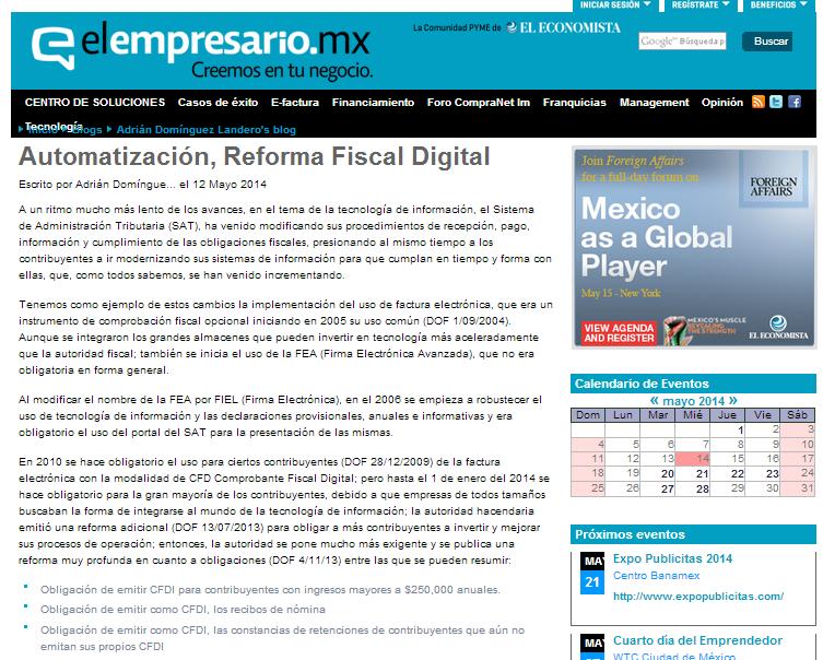 Automatización, Reforma Fiscal Digital