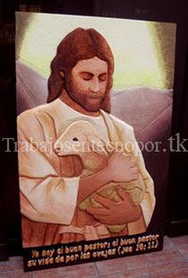Cartel en Tecnopor en Alto Relieve de jesus sosteniendo carnero
