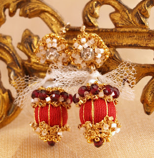 victorian style red silk and garnet earrings with gold lace