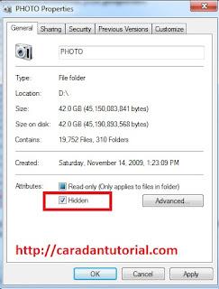 cara sembunyikan file