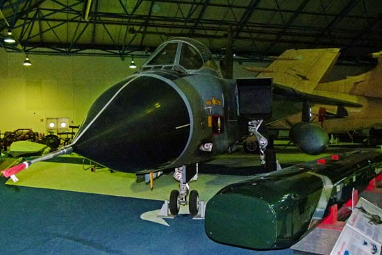Tornado jet, Panavia, used in Gulf War, Hendon RAF museum, bomber hall
