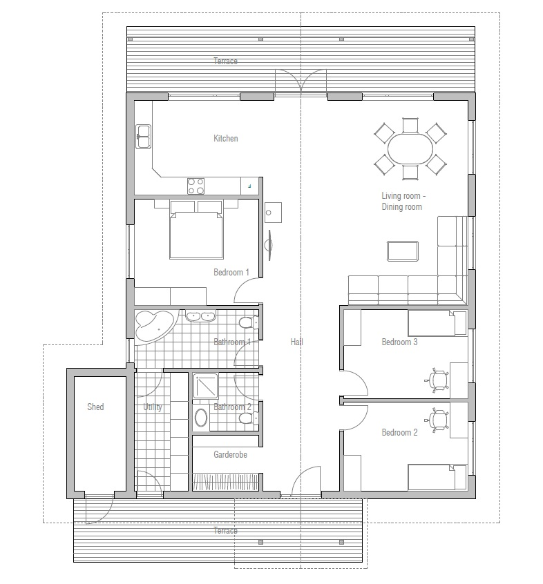 Affordable home plans affordable home plan ch4 for Affordable housing floor plans