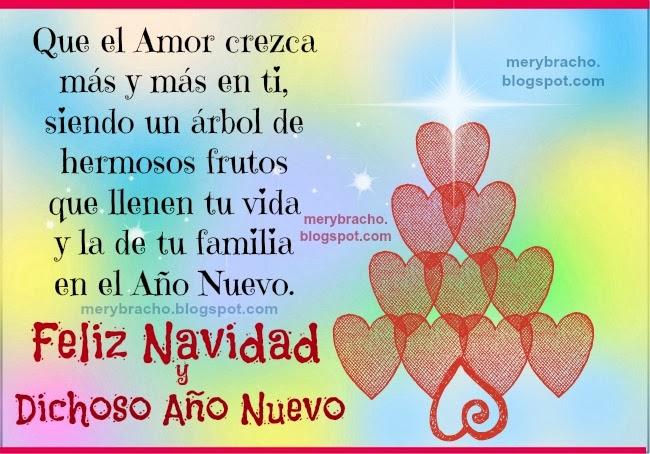 Feliz Navidad y Dichoso Año Nuevo lleno de Amor. Tarjeta cristiana navideña, imágenes cristianas de la navidad y el año nuevo, postales lindas navideñas para amiga, amigos, familia, para muro facebook.