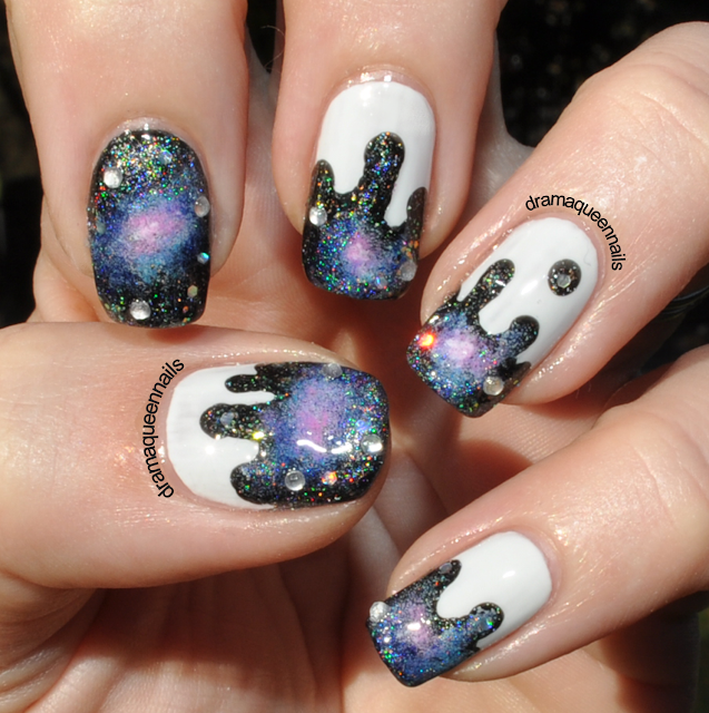 Galaxy Nails Tutorial: Drama Queen Nails: #31dc2013
