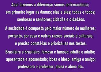 FALAM EM RESPEITO, ENTÃO RESPEITEM A IDENTIDADE DA MULHER, INCLUINDO-A NOS TEXTOS. 07/06/2018.