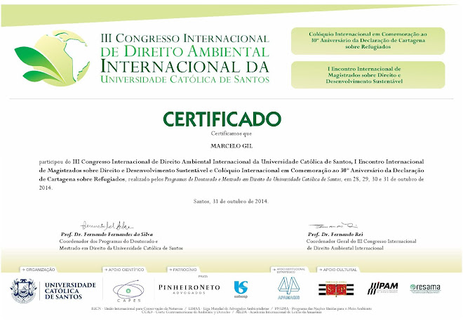 CERTIFICADO CONCEDIDO À MARCELO GIL - III CONGRESSO INTERNACIONAL DE DIREITO AMBIENTAL DA UNISANTOS