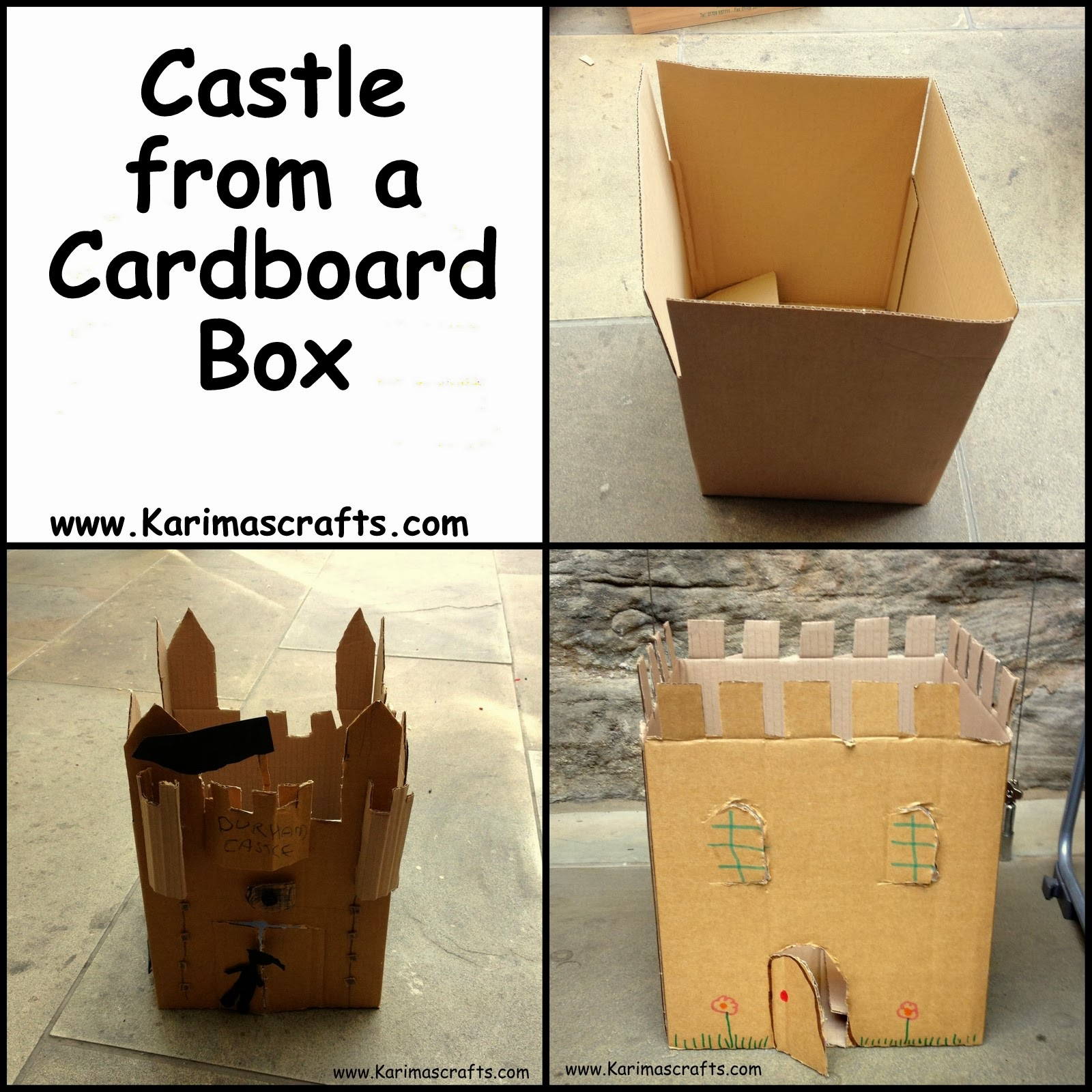 Karima 39 s crafts easy cardboard box castle for Castle made out of cardboard boxes