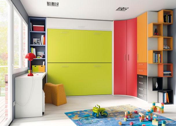 Dormitorios con camas abatibles literas abatibles - Habitaciones infantiles 2 camas ...