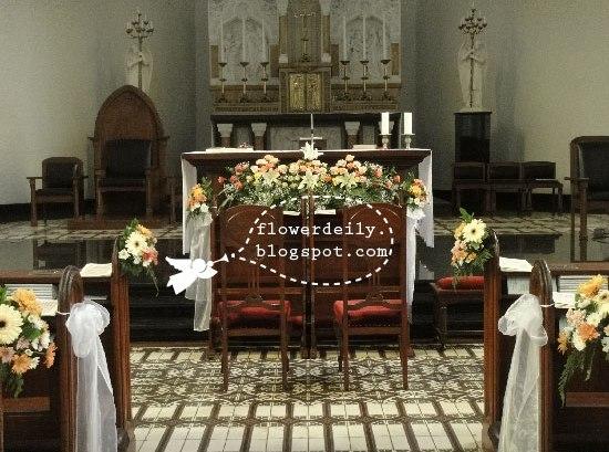 Wedding Church Décor: Pink to Orange Theme ~ flower daily blog