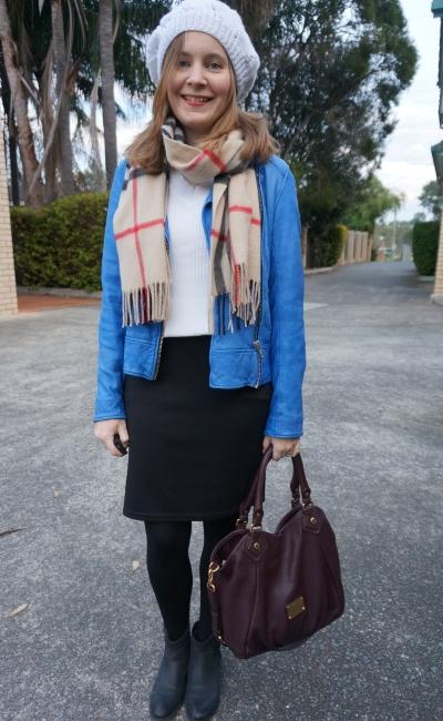 knitted beanie tartan scarf cobalt leather jacket black white office wear winter