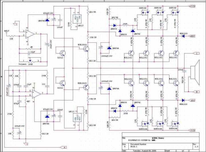 koleksi skema power ampli by pyon sound  skema power class h
