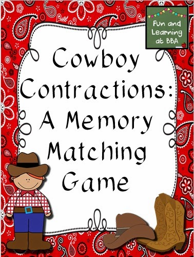 https://www.teacherspayteachers.com/Product/Cowboy-Contractions-A-Matching-Memory-Game-1664215