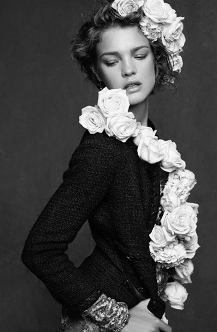 Natalia Vodianova by Lagerfeld in Chanel Little Black Jacket. The Little black jacket exhibition