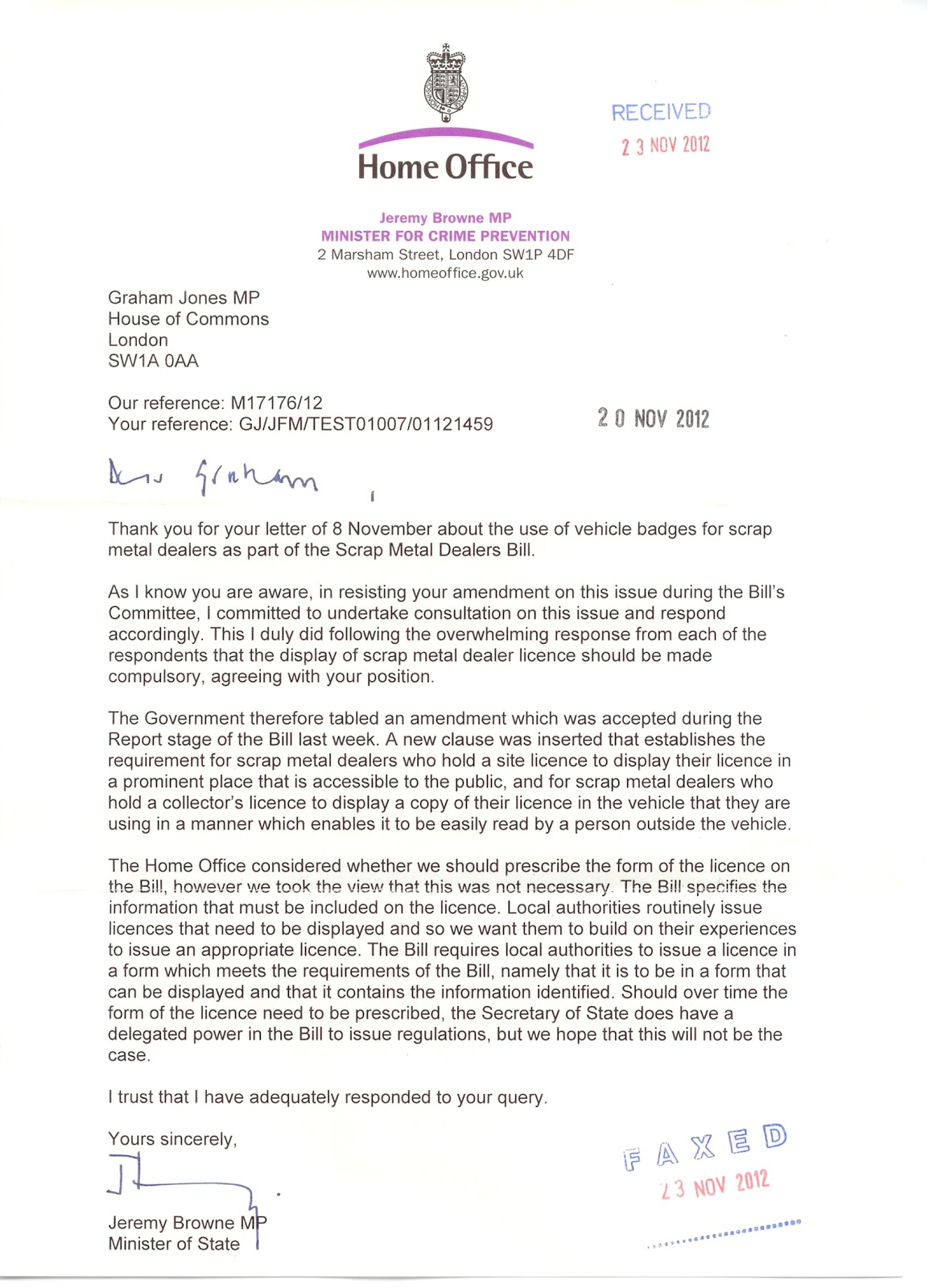 Graham jones 11012012 12012012 government accepts my amendment on vehicle badging for scrap metal collectors thecheapjerseys Images