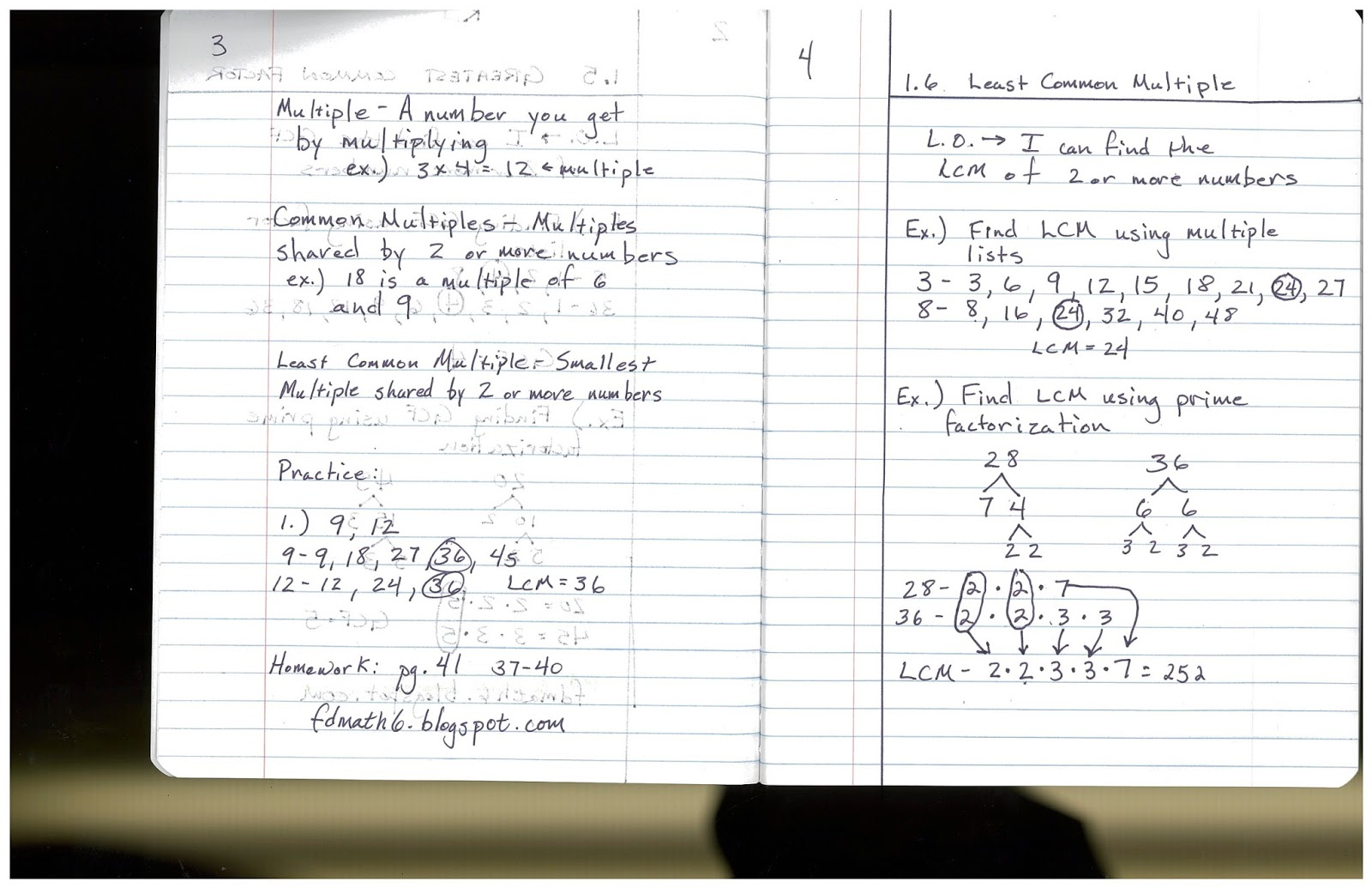 Heidemann 6th Grade Math and Science: Math Notes/Lesson/HW for 10/6