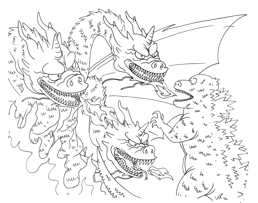 free godzilla dinosaur coloring pages