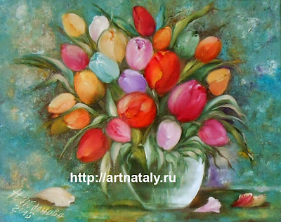 Цветочный натюрморт с тюльпанами на холсте 40 х 50 маслом