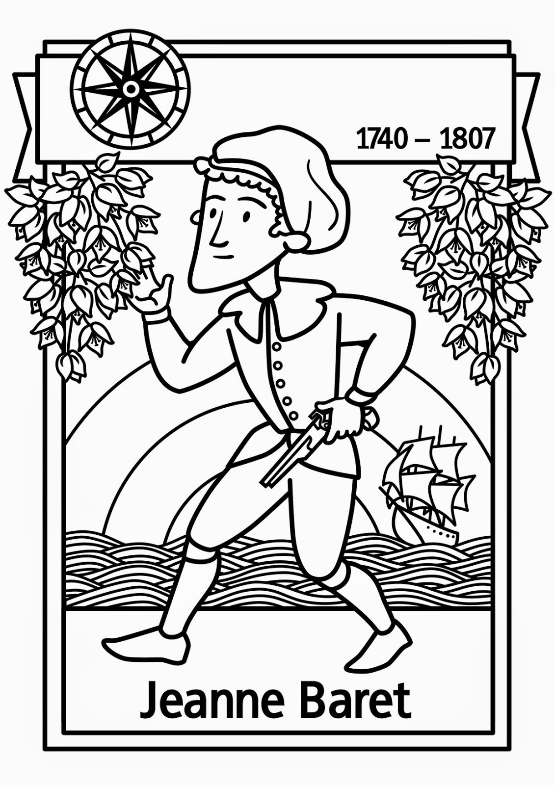 jeanne baret free colouring page amazing women of history