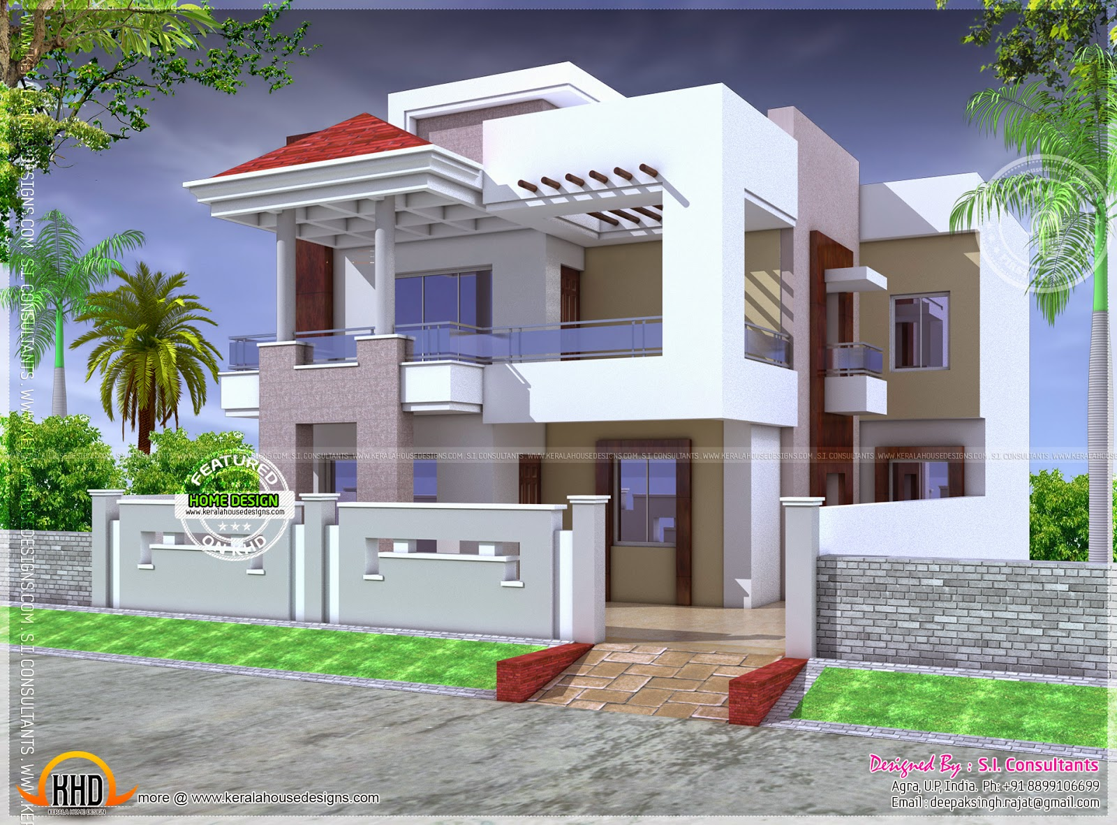 Nice modern house with floor plan kerala home design and for Nice modern house plans
