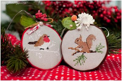 Christiane Dahlbeck , Herbst & Winter, вышивка игрушек, игрушки на елку с вышивкой, пинкип вышивка,