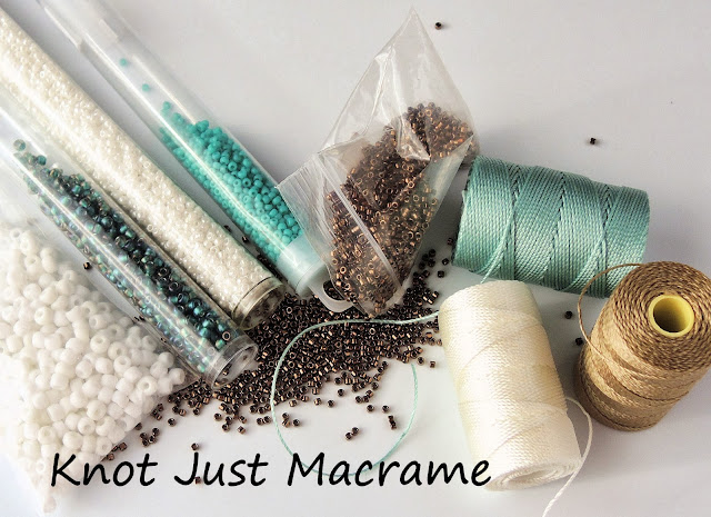 Khaki, white and turquoise color palette for micro macrame kit