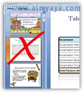 Gambar:  contoh menyembunyikan slide presentasi powerpoint