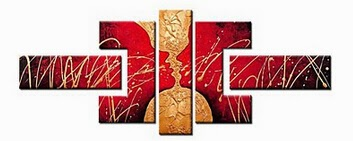 Abstract Hand-painted Kiss Oil Painting with Stretched Frame - Set of 4