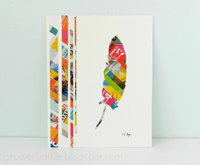 Junk Mail Feather Art