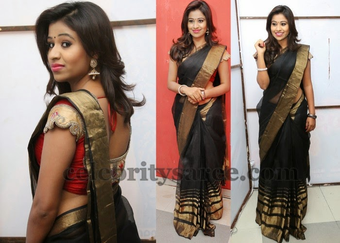 Manali Rathod Black Saree
