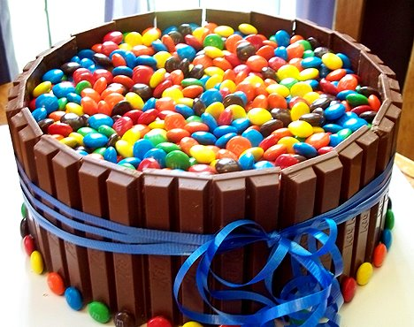 Kit Kat and M&M Cake
