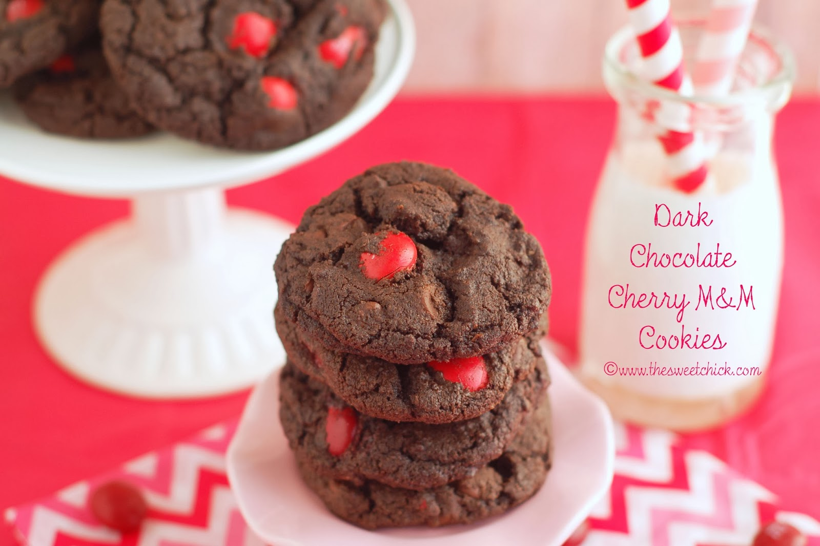 Dark Chocolate Cherry M&M Cookies by The Sweet Chick