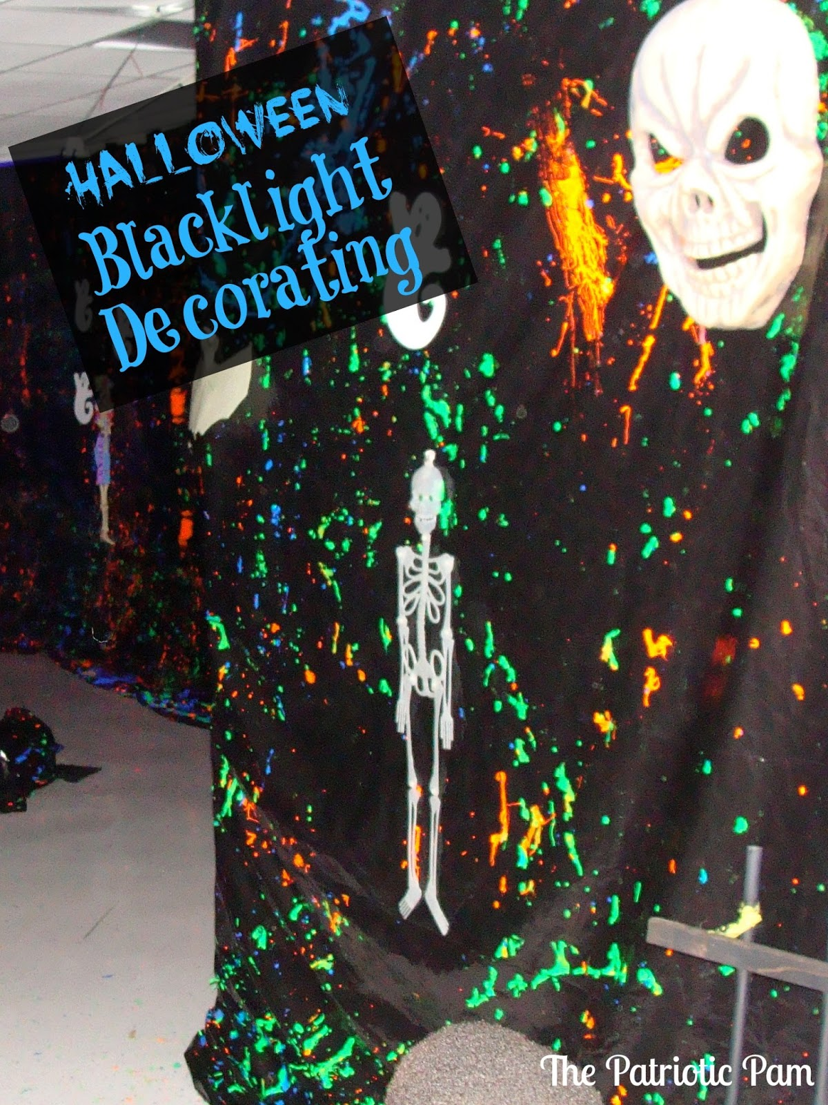 the patriotic pam: halloween haunted yard with black lights