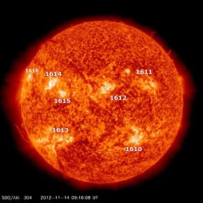 MANCHAS SOLARES ACTIVAS 14 DE NOVIEMBRE 2012