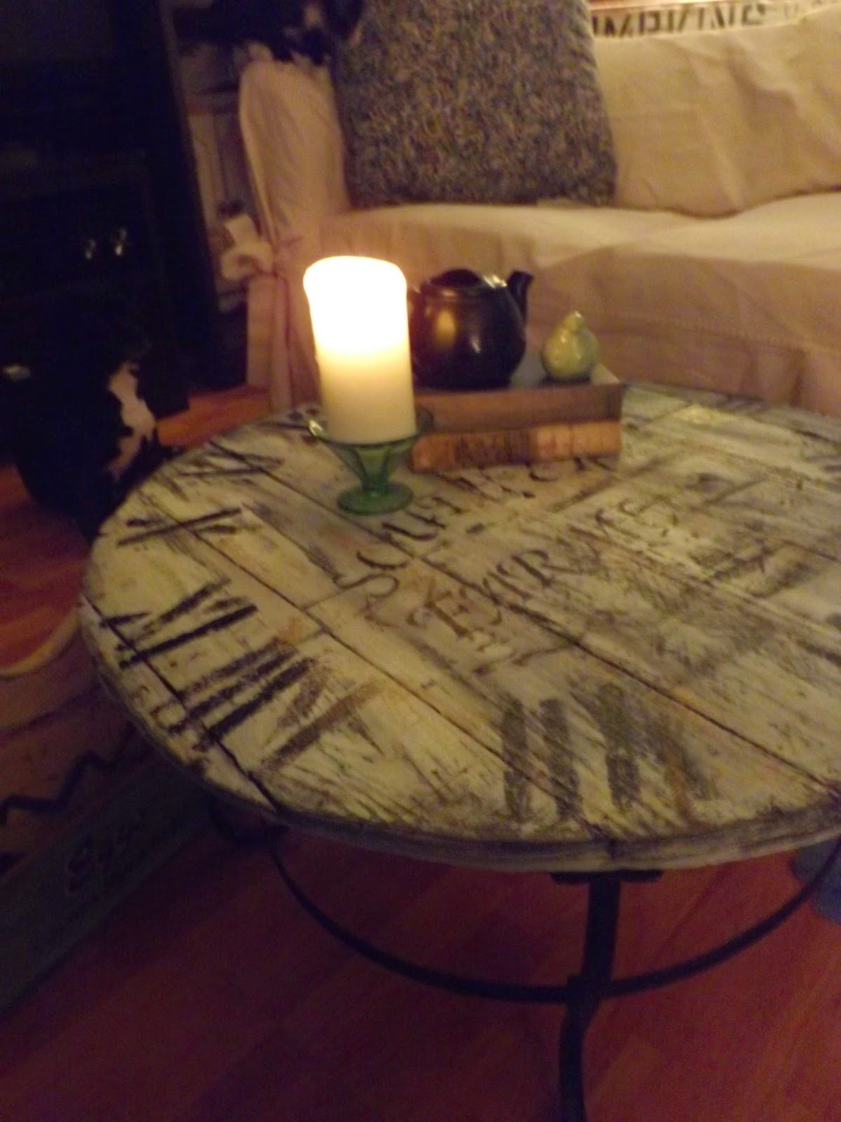 An endless time wood pallet clock coffee table made by me here he is all dressed as a vintage clocktice i refered to it as a he usually when i am painting furniture they are refered to as ladies geotapseo Image collections