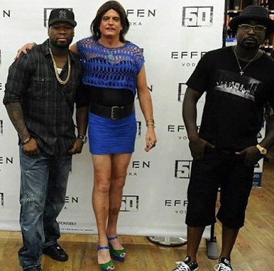 50 Cent takes a pic with a transgender, reactions