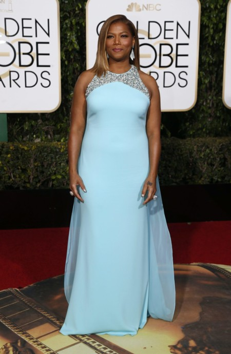 Queen Latifah vestida de Badgley Mischka en los Golden Globes, enero 2016