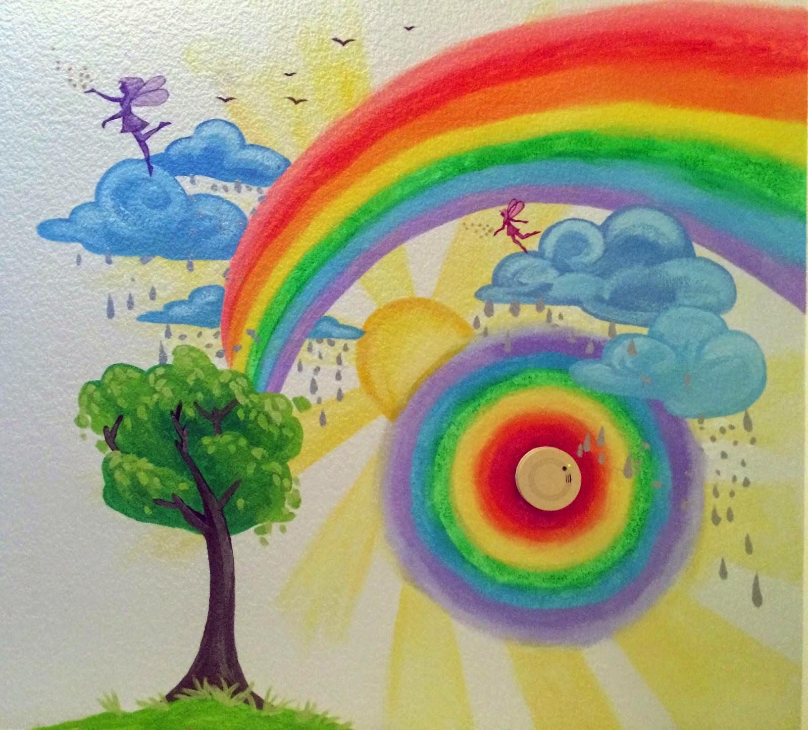 childrens mural, portland muralist, portland mural artist, kids room mural, rainbow mural, fairy mural