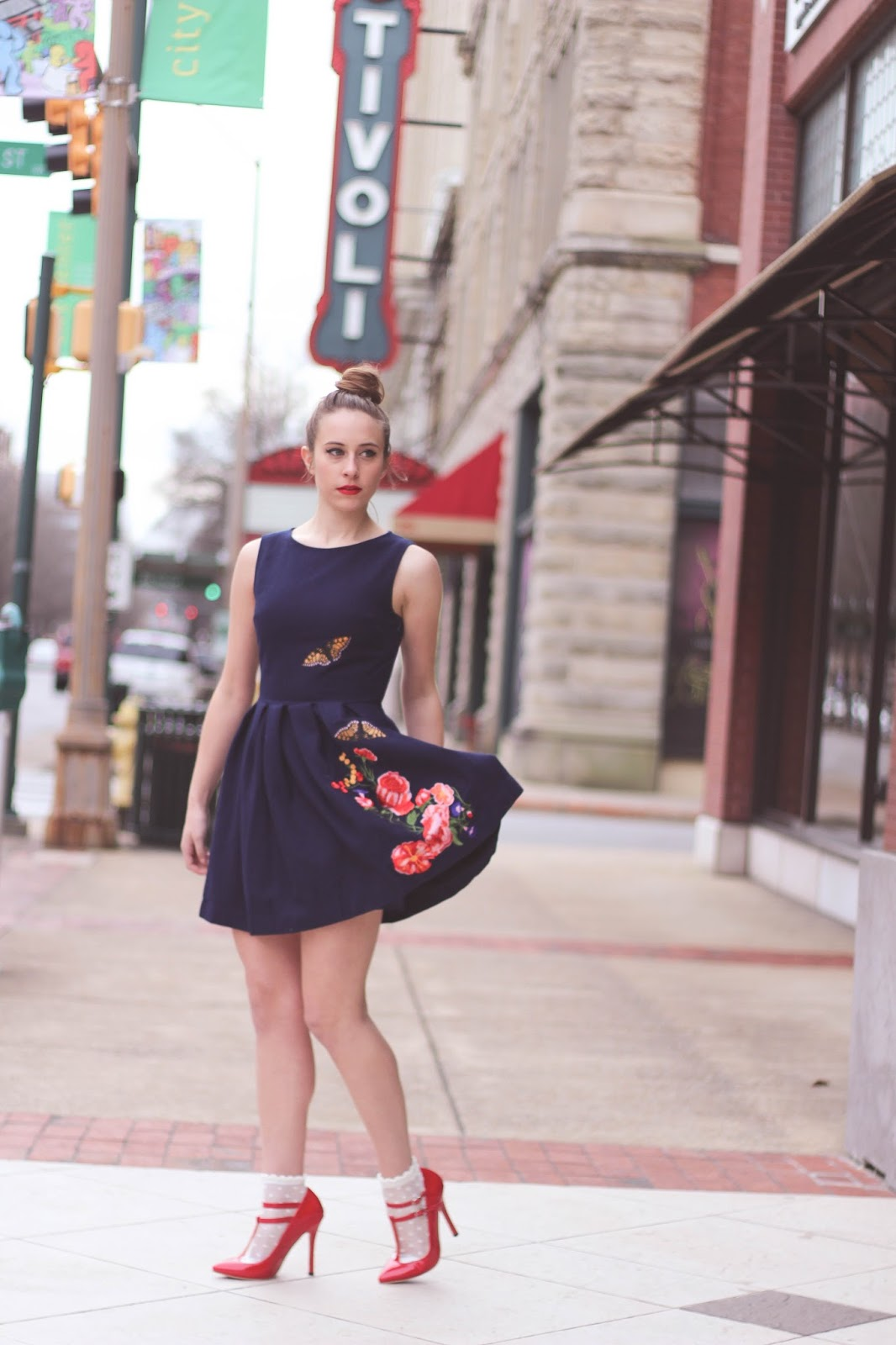 Girly, Whimsical, Nishe, Embroidered Dress, Skater Dress, Fashion Blogger, Fashion, Cute, Feminine, Red Heel, Socks and Heels