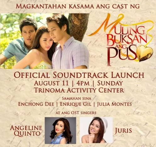 Muling Buksan Ang Puso OST Album Launch this August 11 at TriNoma