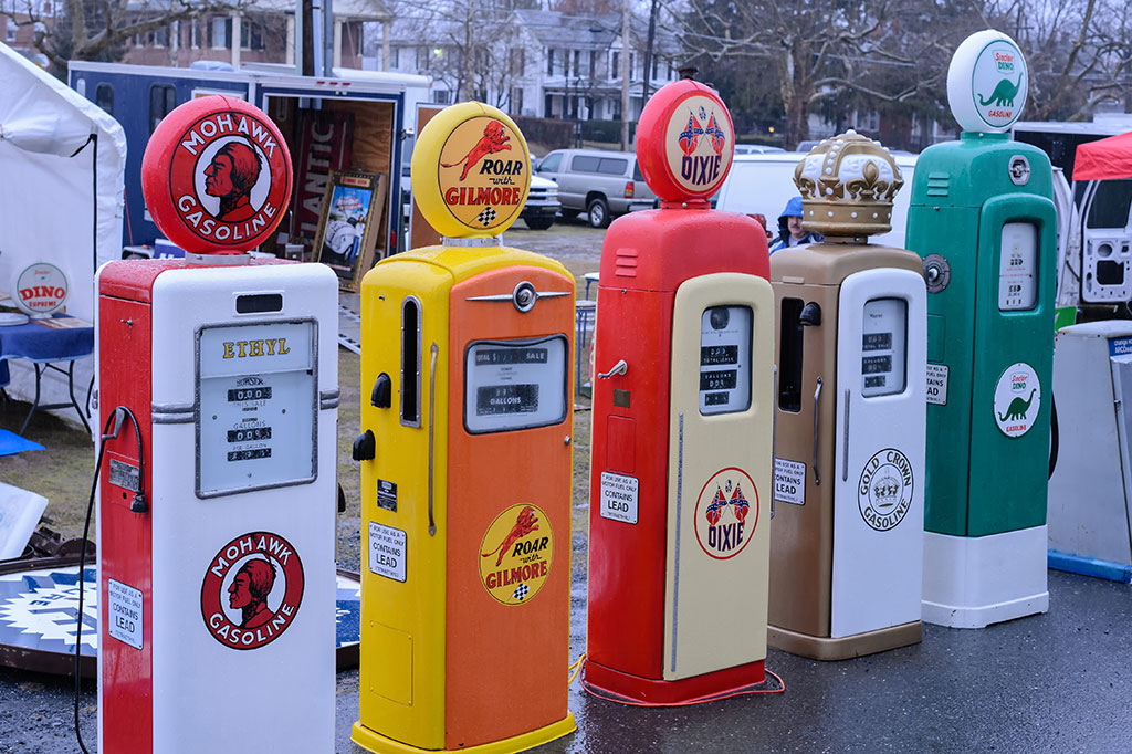 Gas Pumps for sale at the Mason-Dixon Swap Meet