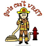 cartoon of a girl dressed as a fire fighter and says girls can't what?