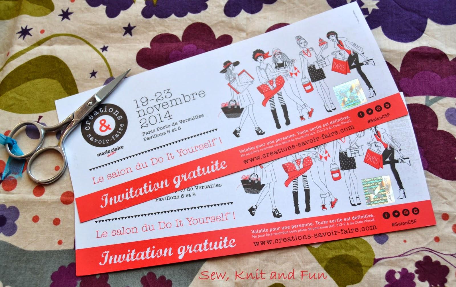 Sew knit and fun 2 invitations pour cr ations et savoir - Salon creations savoir faire invitation ...