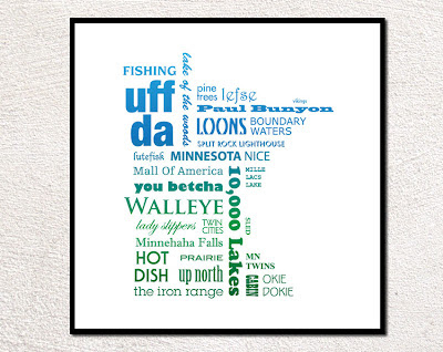 Minnesota phrases placed in the shape of Minnesota framed