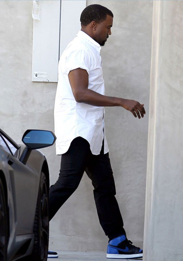 Kanye West Rocking Air Jordan Royal Blue 1 SneakersJordan 1 Royal Blue Kanye