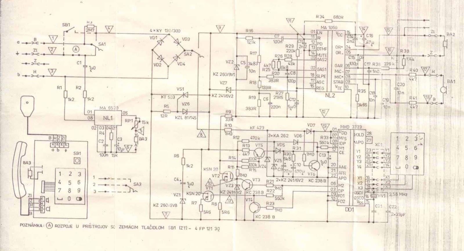 Схема электрическая телефонного аппарата tesla