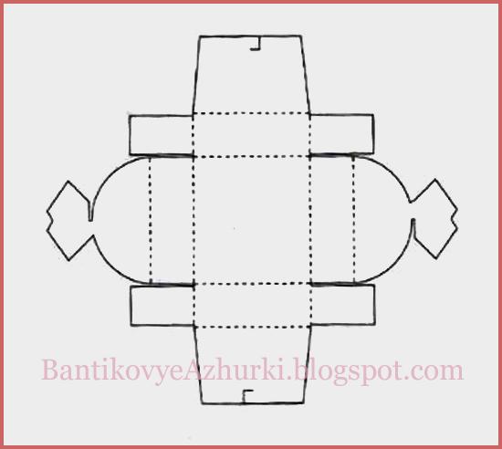 Схема четырехугольной плоской упаковки для подарка