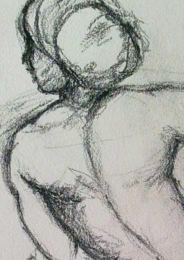 espalda y cabeza de la copia del dibujo de rafael sancio