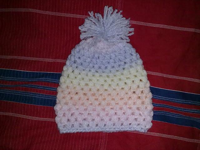 Craft Creations: Crochet puff stitch cap and rib cuff baby bootie