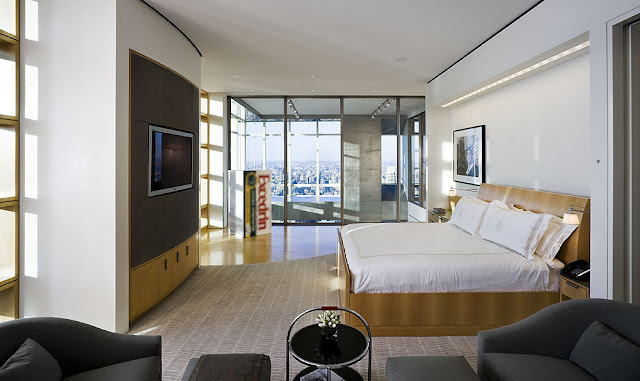 Photo of modern bedroom in the Bloomberg Tower penthouse